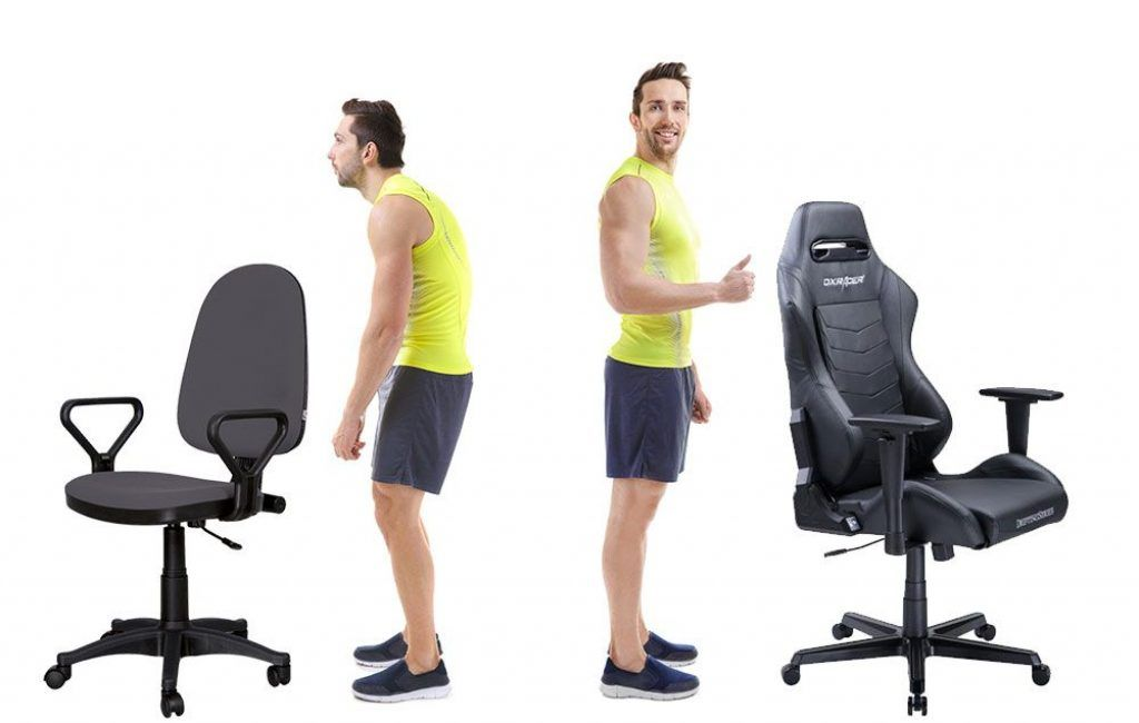 A man standing besides a gaming chair
