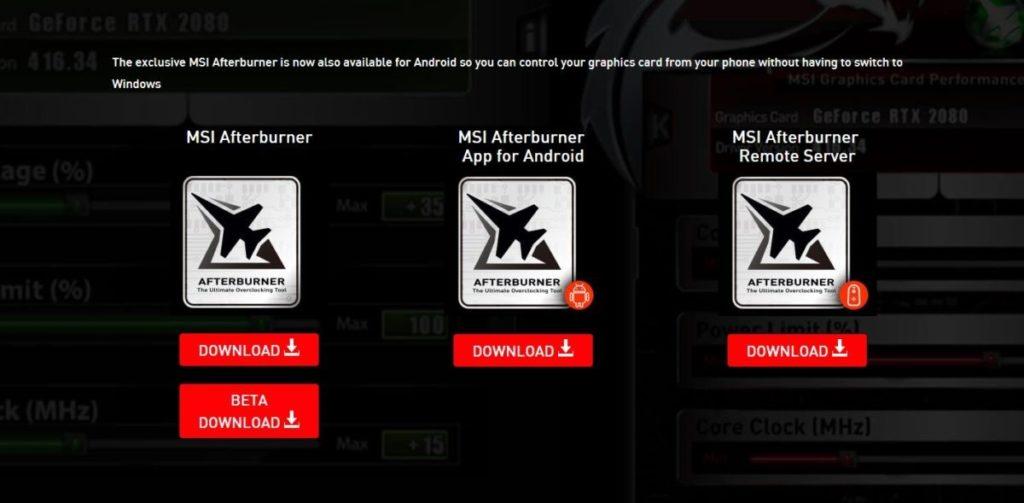MSI Afterburner Download Screen