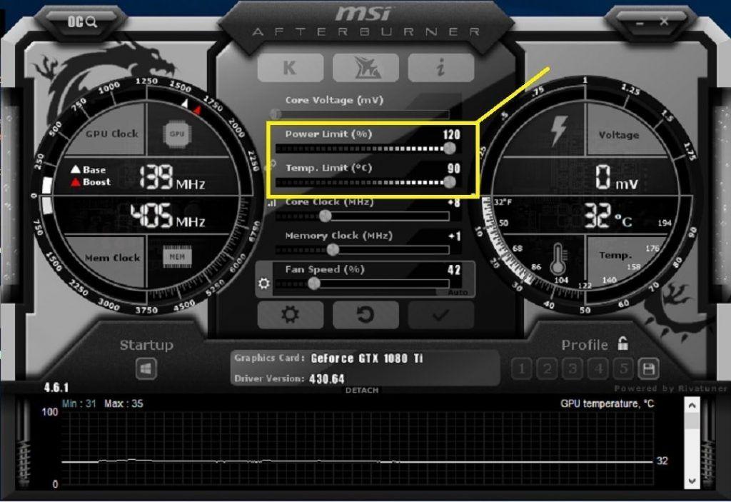 MSI Afterburner Software Screen