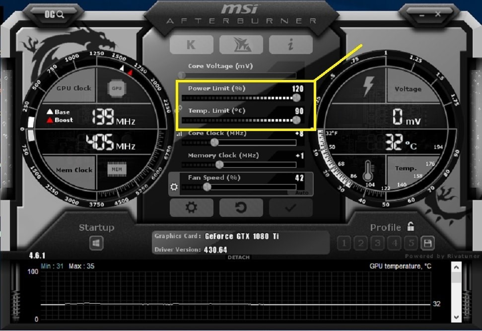MSI Afterburner Software Screen