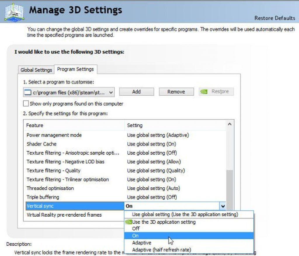 Manage 3D settings screen
