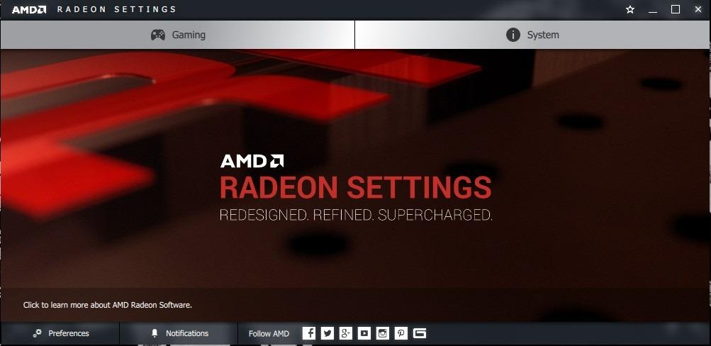 AMD Radeon Settings Panel
