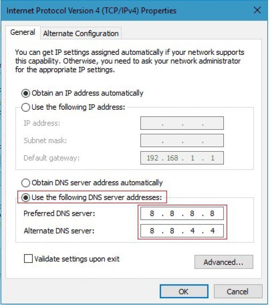 Adding Google dns server addresses