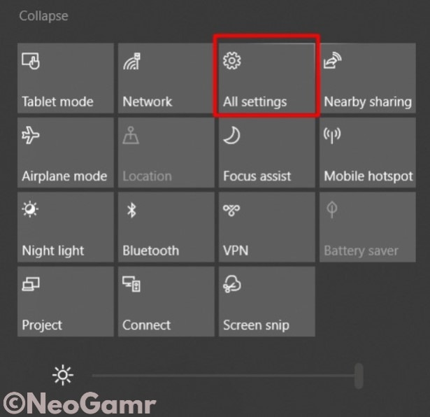 All Settings Button in Notifications Center