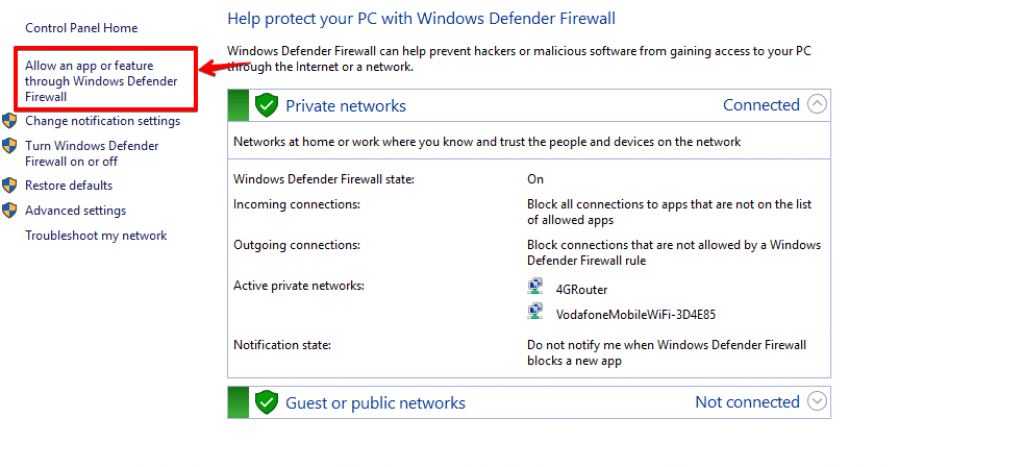 Allowing an app through windows defender firewall