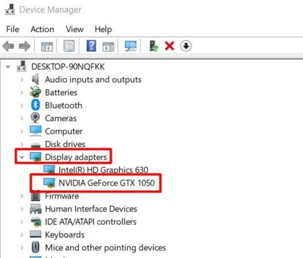 Device Manager Display Adapters