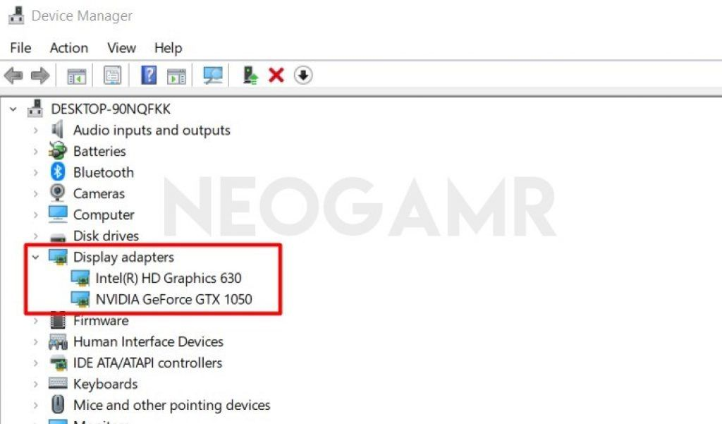 Display Adapters Option in Device Manager