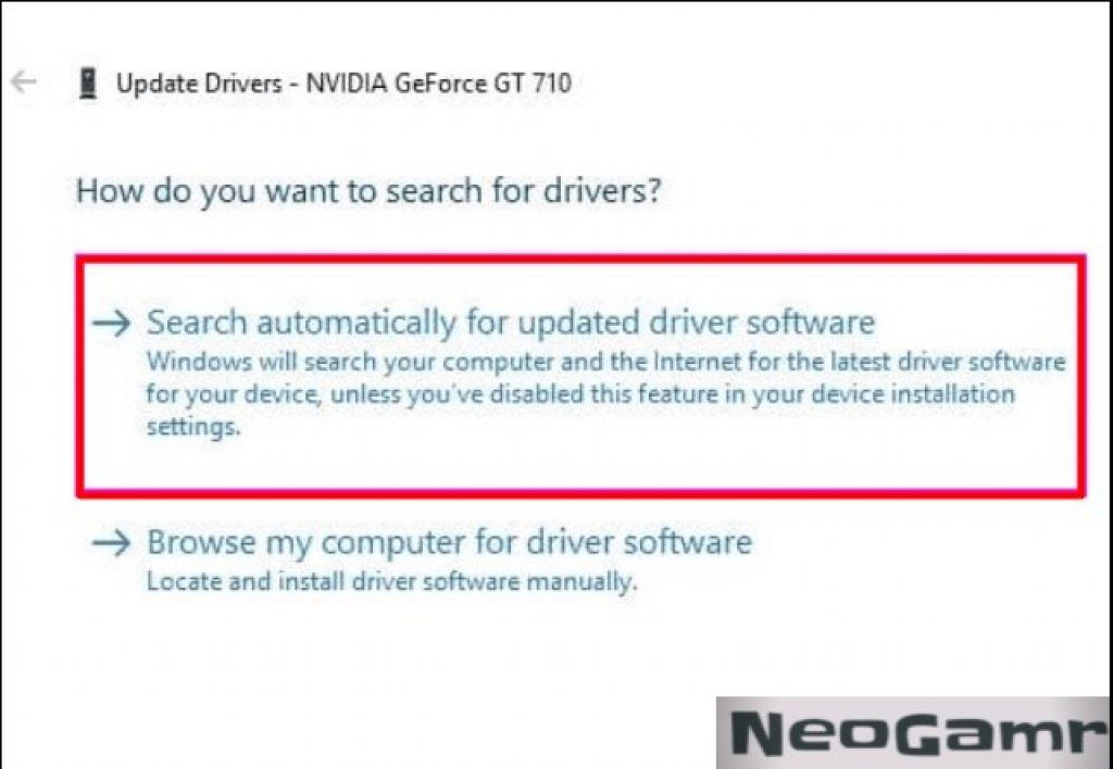 Graphics Card Update Drivers Tab