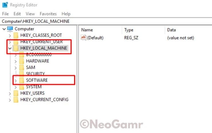 HKEY LOCAL MACHINE in Registry Editor