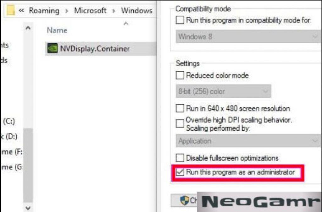 Nvidia Control Panel Properties Menu