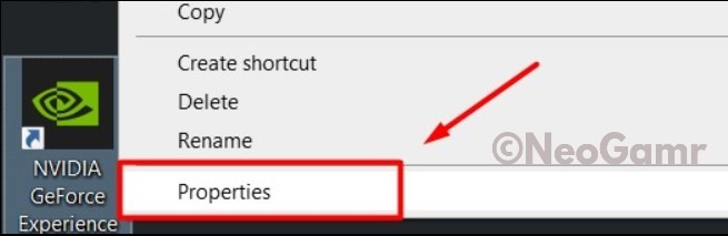 Nvidia GeForce Experience Properties Button