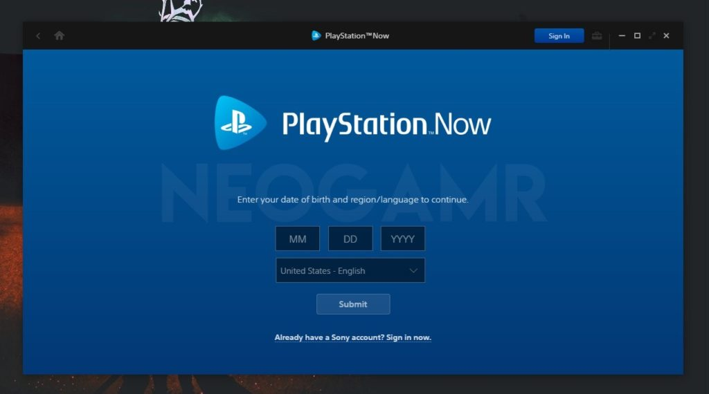 Playstation Now Sign In Option