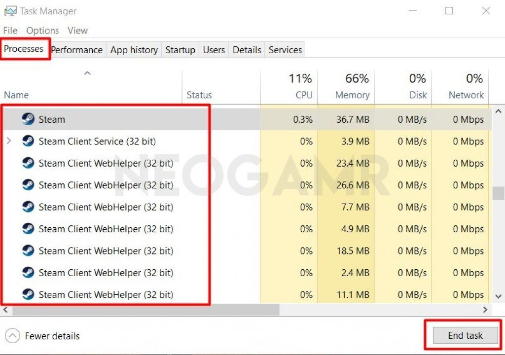 Processes Tab In Task Manager