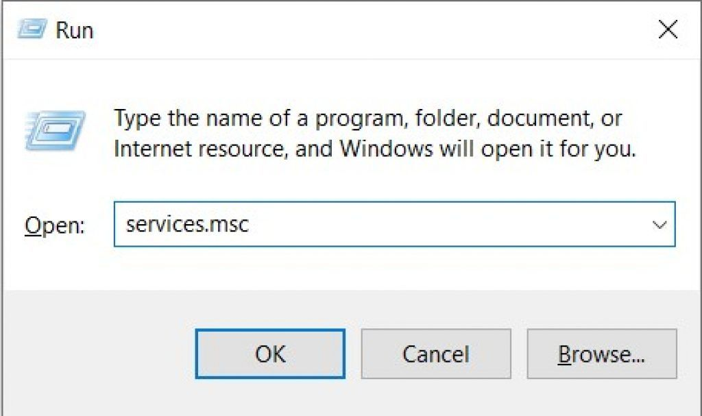 Run Services.msc in Windows