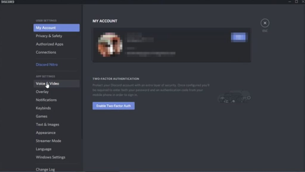 Settings of discord