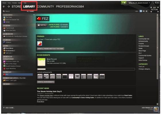 Steam App Dashboard Screen
