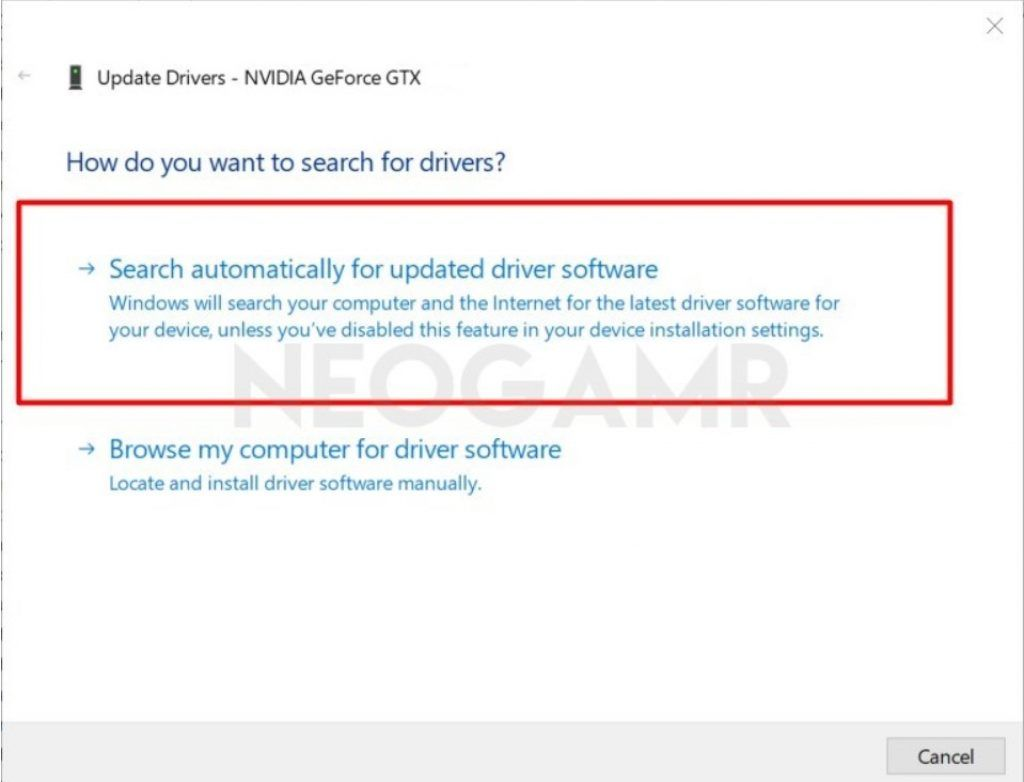 Update Graphics Card Drivers Tab