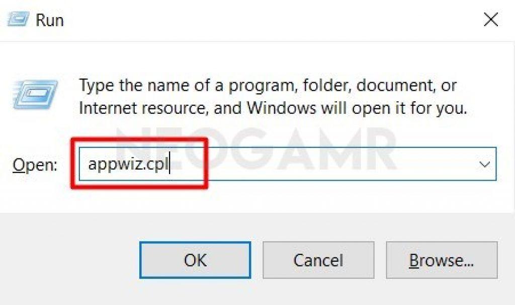 appwiz.cpl in Run dialog box