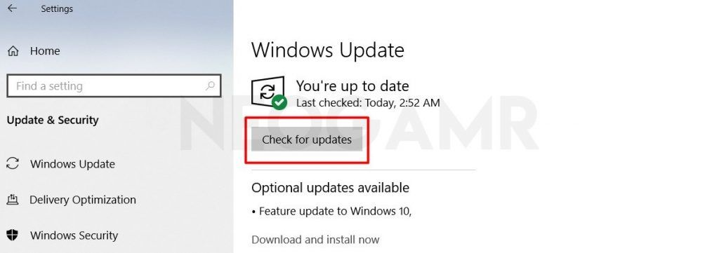 Click on Check for Updates in Windows 10