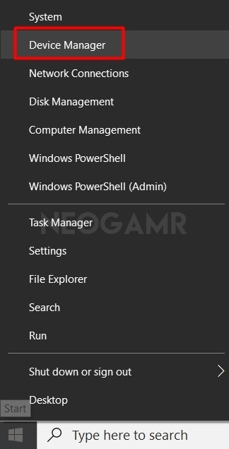 Device Manager Options from Adapter Settings