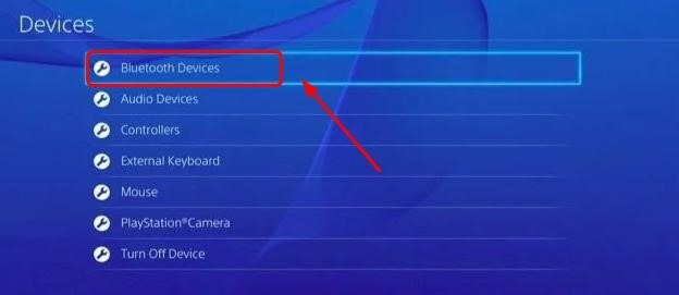 Devices Panel in Settings of PS4