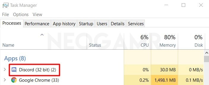 Discord icon in Task Manager