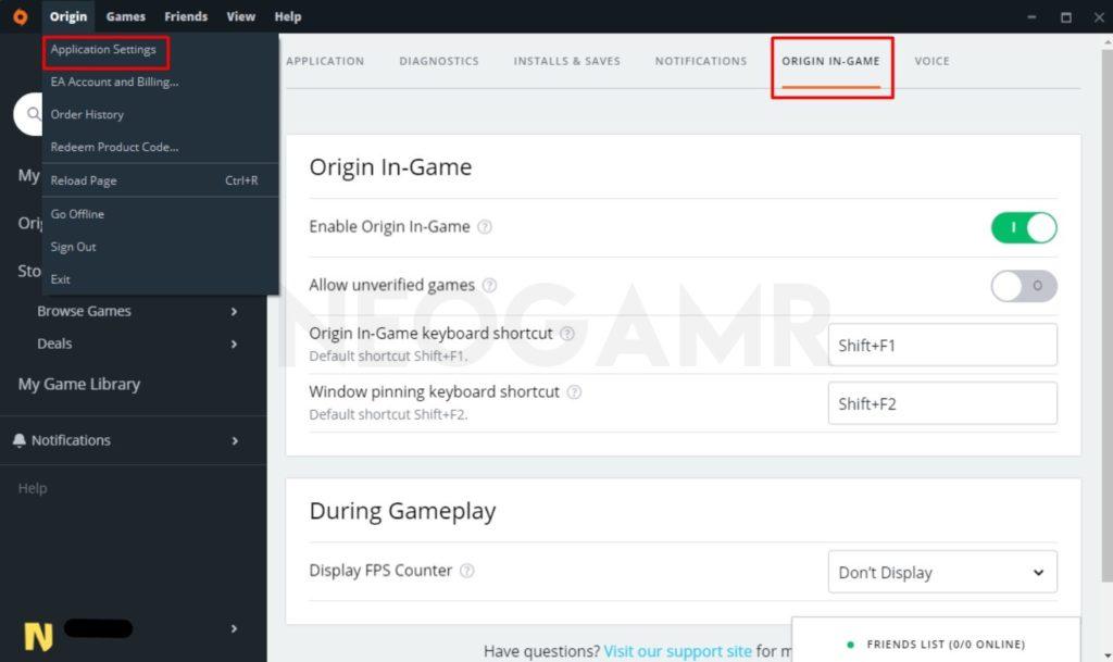 In-Game Overlay Settings in Origin Client
