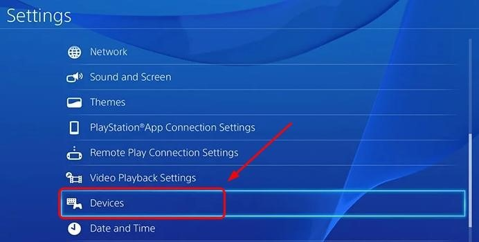 Main Settings Panel of Playstation 4