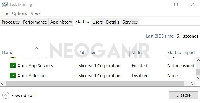 Startup Tab in Windows Task Manager