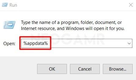 Type Appdata in Windows Run Dialogue Box