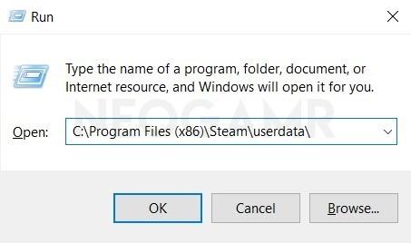 Type Userdata in Windows Run Dialog box