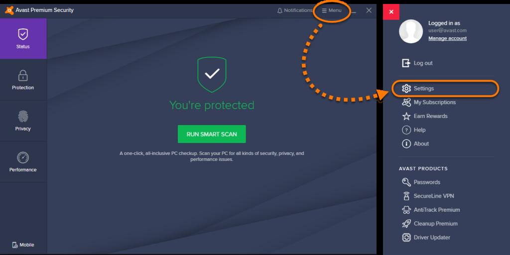 Avast Antivirus Main Dashboard
