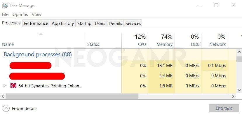 Clock Background Apps Via Windows Task Manager