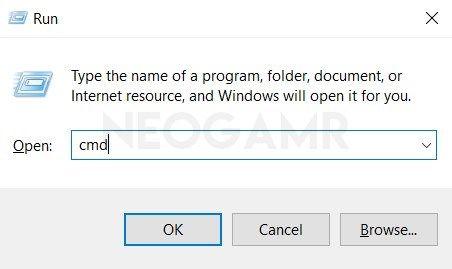 Type CMD in Run Dialog Box