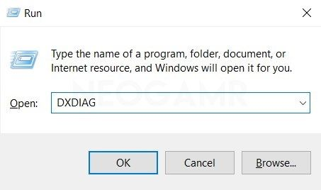 Type DXDIAG in Dialog Box