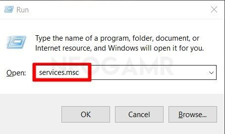Type Services.msc in Run Dialog Box
