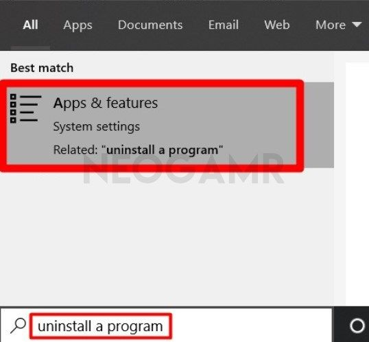 Type uninstall a program in Search bar