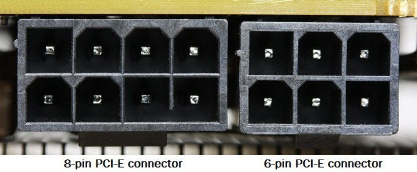 Showing the difference between 8 Pin PCIe and a 6 Pin PCIe