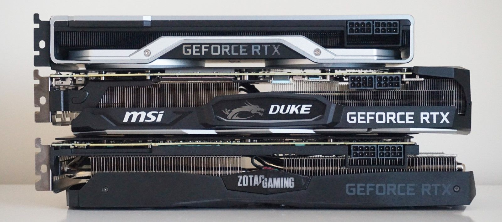 Three Graphics Cards on top of each other
