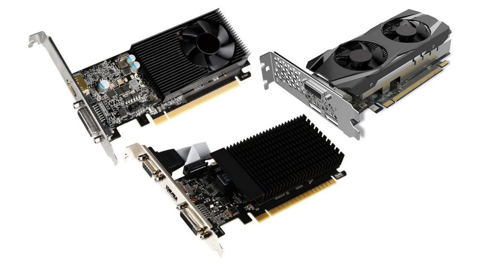 Three different low profile video cards