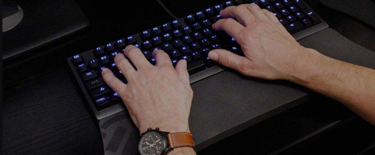 Human using a computer keyboard