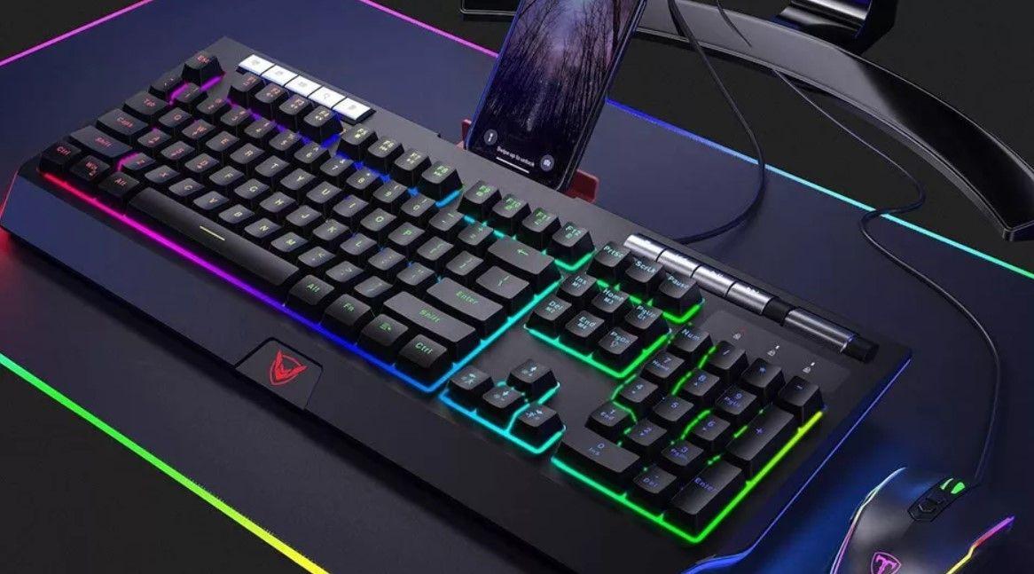an RGB gaming keyboard on a desk