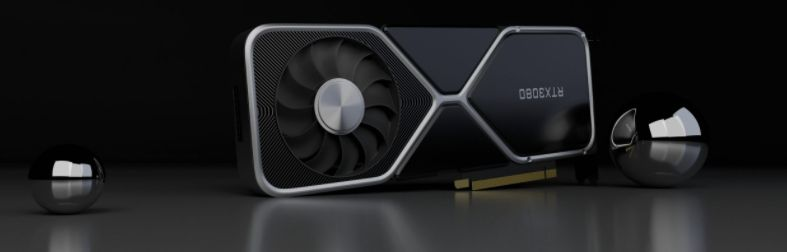 A rtx 3080 gpu on a table