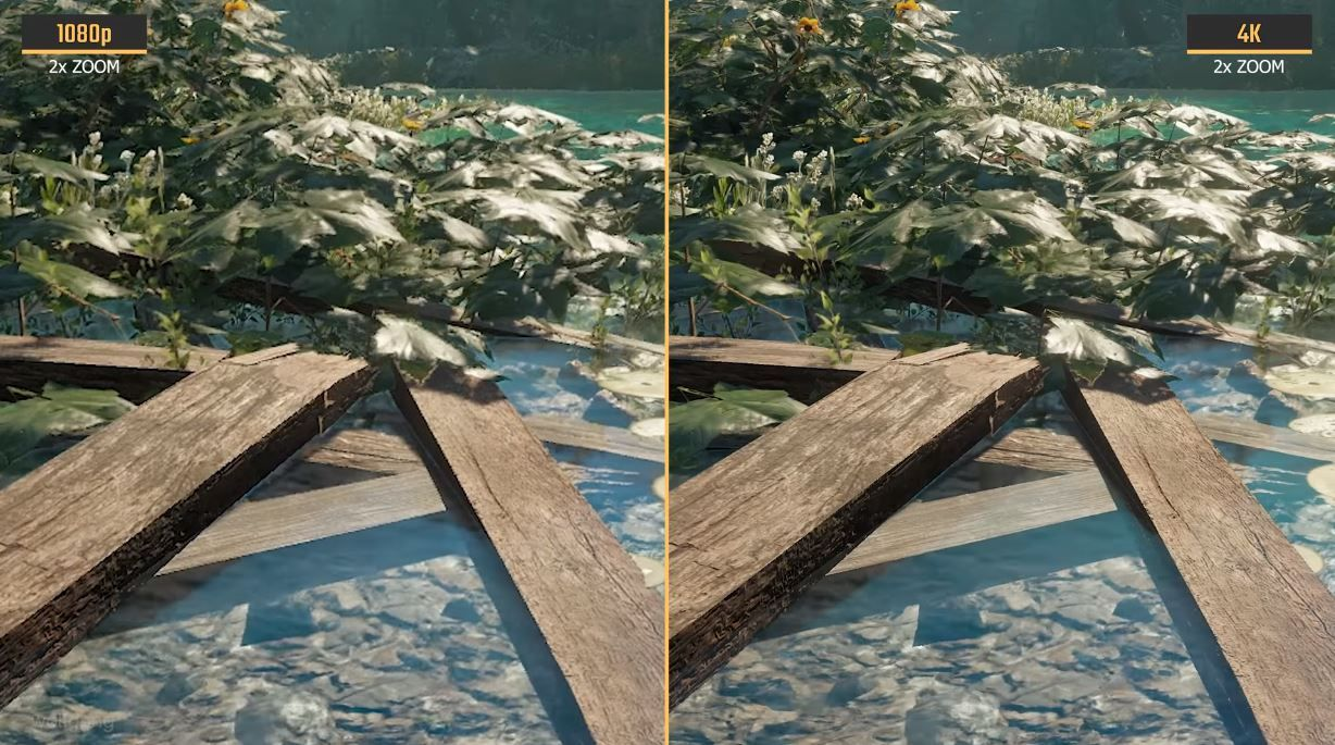 Example of texture quality of 4k vs 1080p Gaming