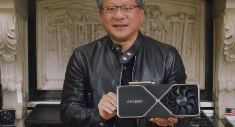 Nvidia ceo with 3090 gpu in his hands