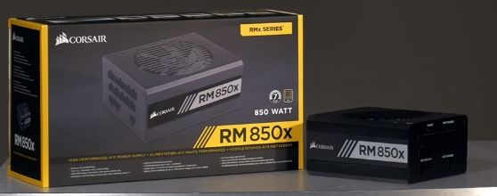 showing Corsair Power Supply with the box on desk