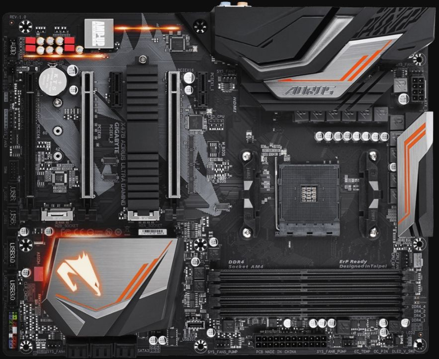showing all the components of the gigabyte mobo