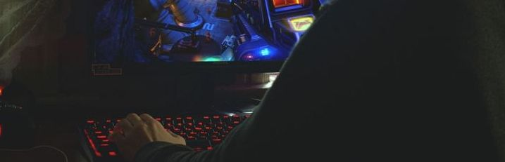A boy with his gaming pc setup