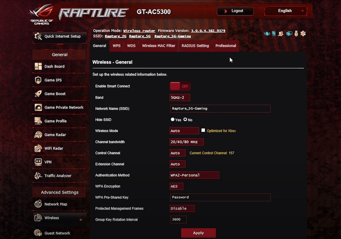 Asus ROG Rapture GT AC5300 Settings Dashboard