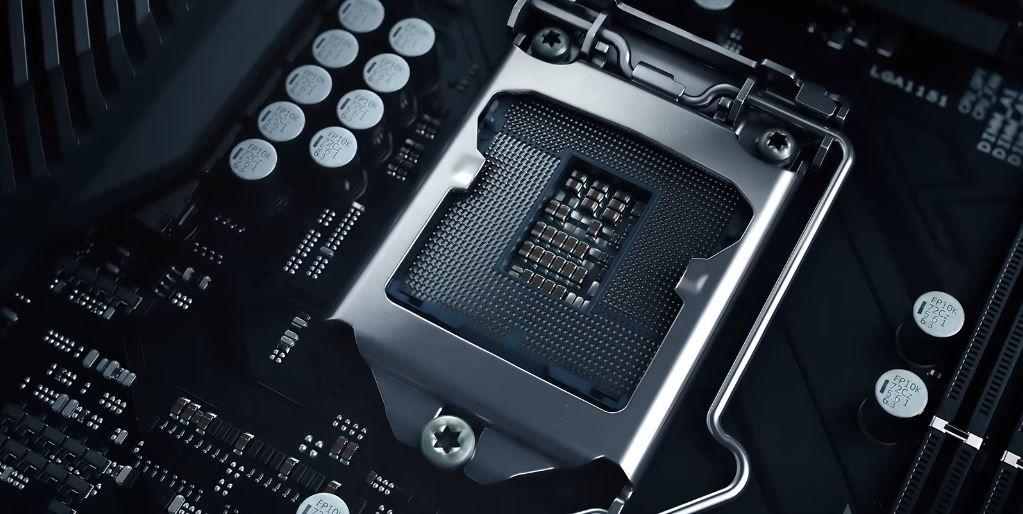 CGI image of CPU socket in motherboard